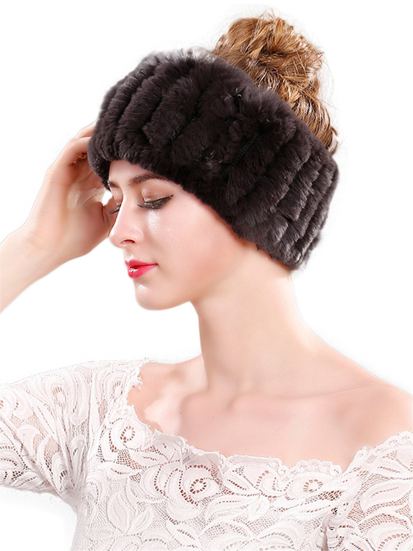 LITHER Women's Rabbit Fur Headband Winter Wrap Cap For Winter Earwarmer Earmuff