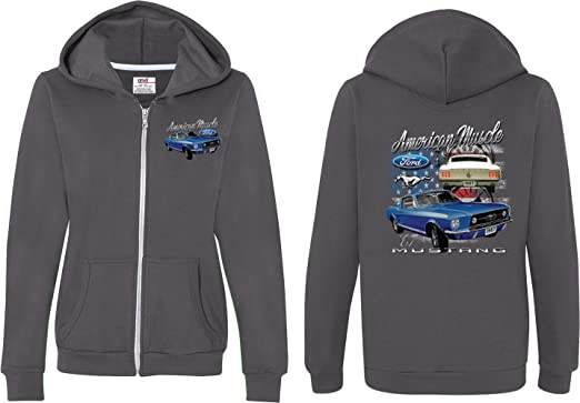 Buy Cool Shirts Ford Mustang Hoodie Stripe Hooded Sweatshirt Front and Back