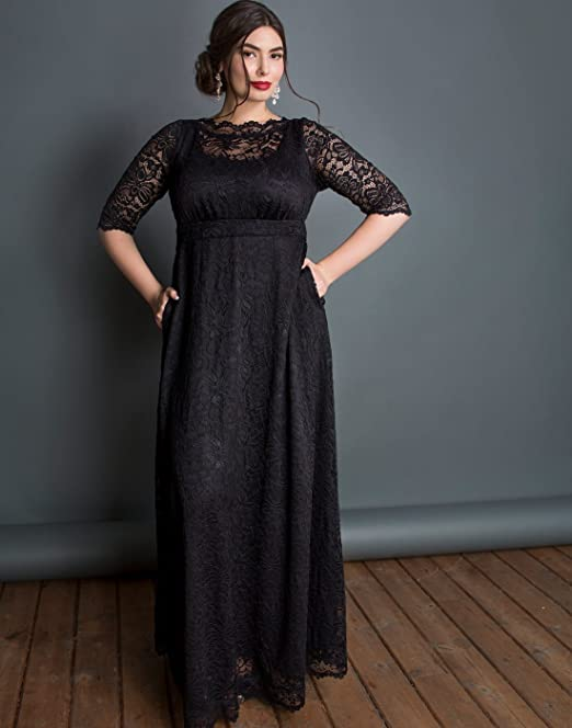 Kiyonna Womens Plus Size Leona Lace Gown at Amazon Womens Clothing store: