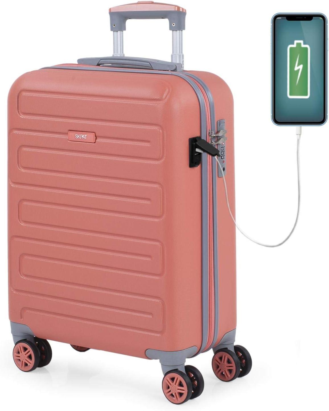SKPAT - Maleta de Cabina para Viaje. Puerto para Cargador USB. 4 Ruedas Trolley 55 cm. ABS. Equipaje de Mano. Pequeña Rígida Cómoda y Ligera. Candado TSA. Calidad. 175050, Color Coral