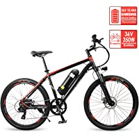Reibok Ebike New City Travel Electric Bicycle 26 inch Shimano 7 Speed Electric Mountain Bike E-Bike 36V 10.4Ah Lithium Battery Electric Bike 350W Adult Assisted Ebike