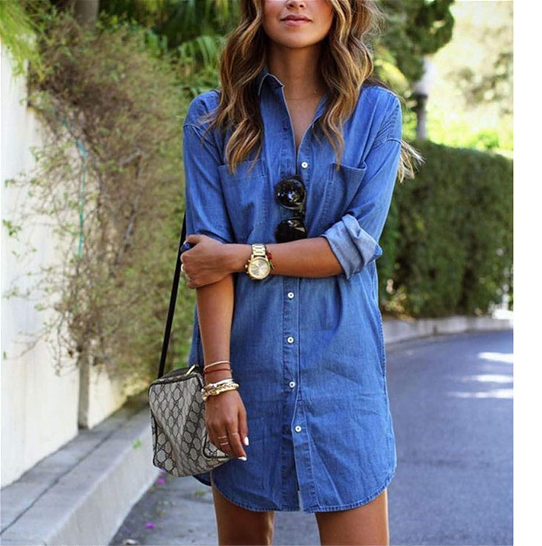 de21a82d836 Women Summer Casual Denim Dresses Pockets Elegant Cowboy Fashion Lady Slim  Shirt Dress at Amazon Women s Clothing store