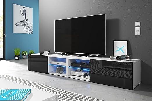 Mueble para TV bajo, estilo moderno, doble, frontal acabado brillante, LED gratis, color blanco mate y negro brillo con LED: Amazon.es: Hogar