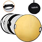 Selens 5 in 1 110cm Translucent,Silver,Gold,White,Black Collapsible Portable Round Light Reflector Diffuser Kit with Grip and Carryingbag for Photography Lighting