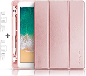 SWEES Compatible for iPad 9.7 2018/2017 Case with Pencil Holder, Shockproof Leather Smart Cover Auto Sleep/Wake with Pencil Cap Holder Compatible for Pad 9.7 inch 6th/5th Generation, Rose Gold