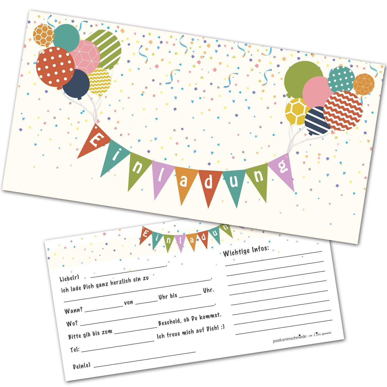 12 Einladungskarten Kindergeburtstag mit Luftballons – Einladungen ...