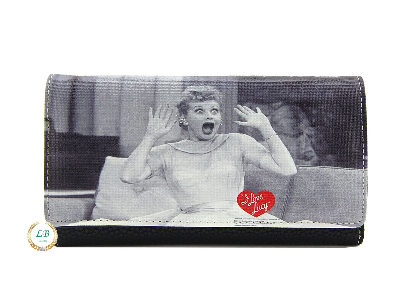 I Love Lucy Tri-fold Wallet with Checkbook Cover, Plus Key Chain (Grey)