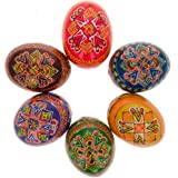 "2.5"" Set of 6 Hand Painted Wooden Ukrainian Easter Eggs"