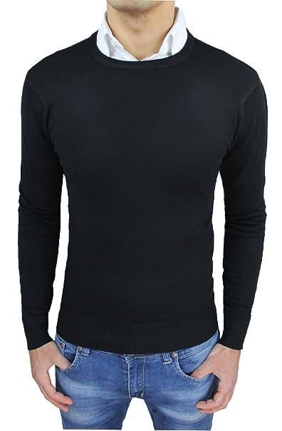 Maglione Fit Pullover Maglia Slim Aderente Girocollo Nero Uomo rrq84