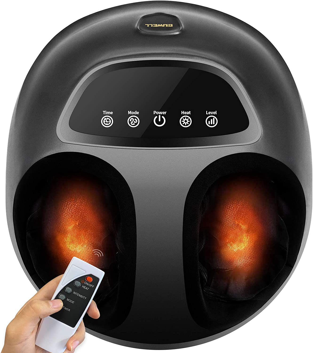 Foot Massager Machine with Heat and Remote Control, Shiatsu Deep Kneading, Multi-Level Settings,Air Compression for Women Men, 12, Black