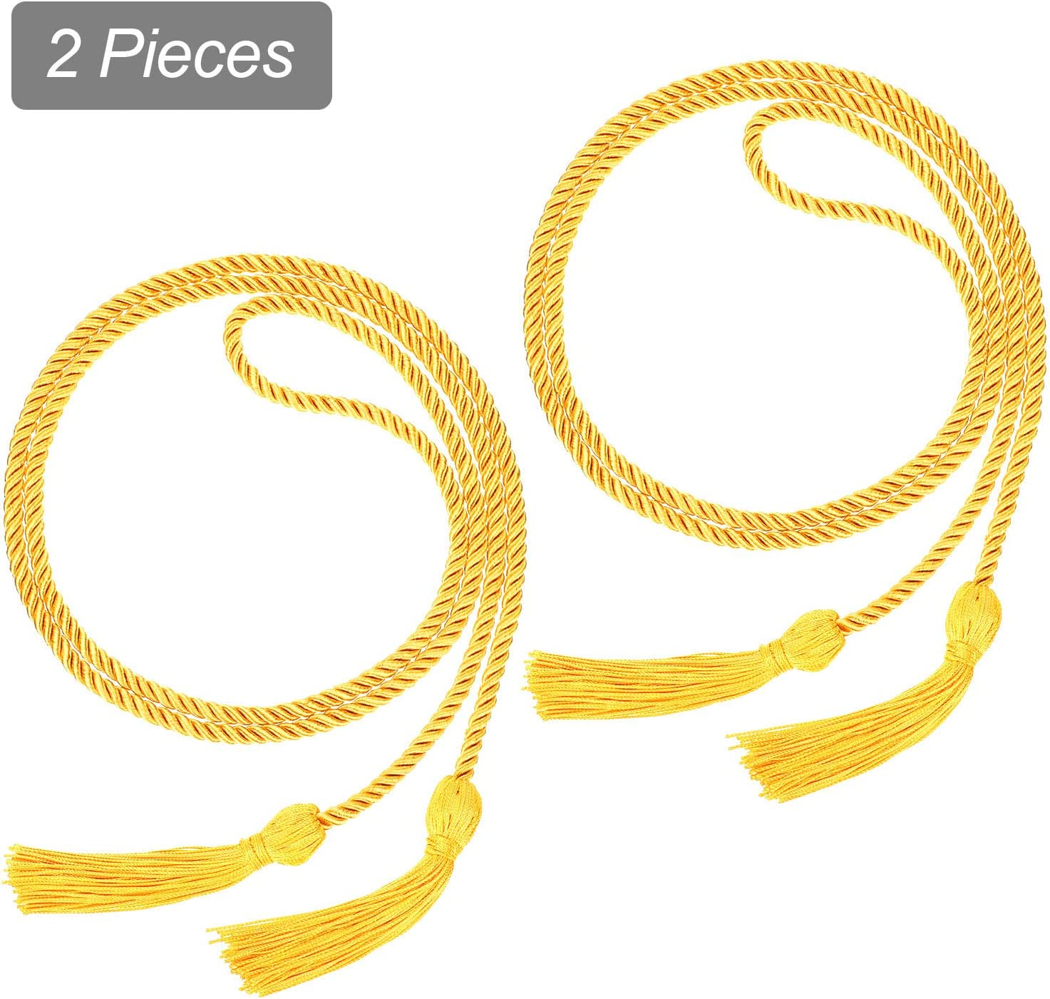 Gold with Purple 2 Pieces Graduation Cords Polyester Yarn Honor Cord with Tassel for Graduation Students