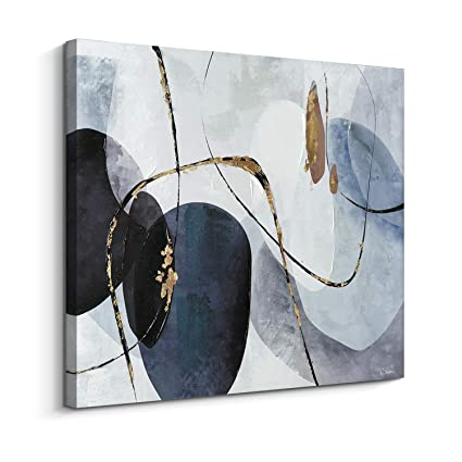 Pi Art Orignal Design Canvas Wall Art Abstract Black And Blue Color Palette With Foil Embellished Hand Painted On Canvas Print Wall Decor