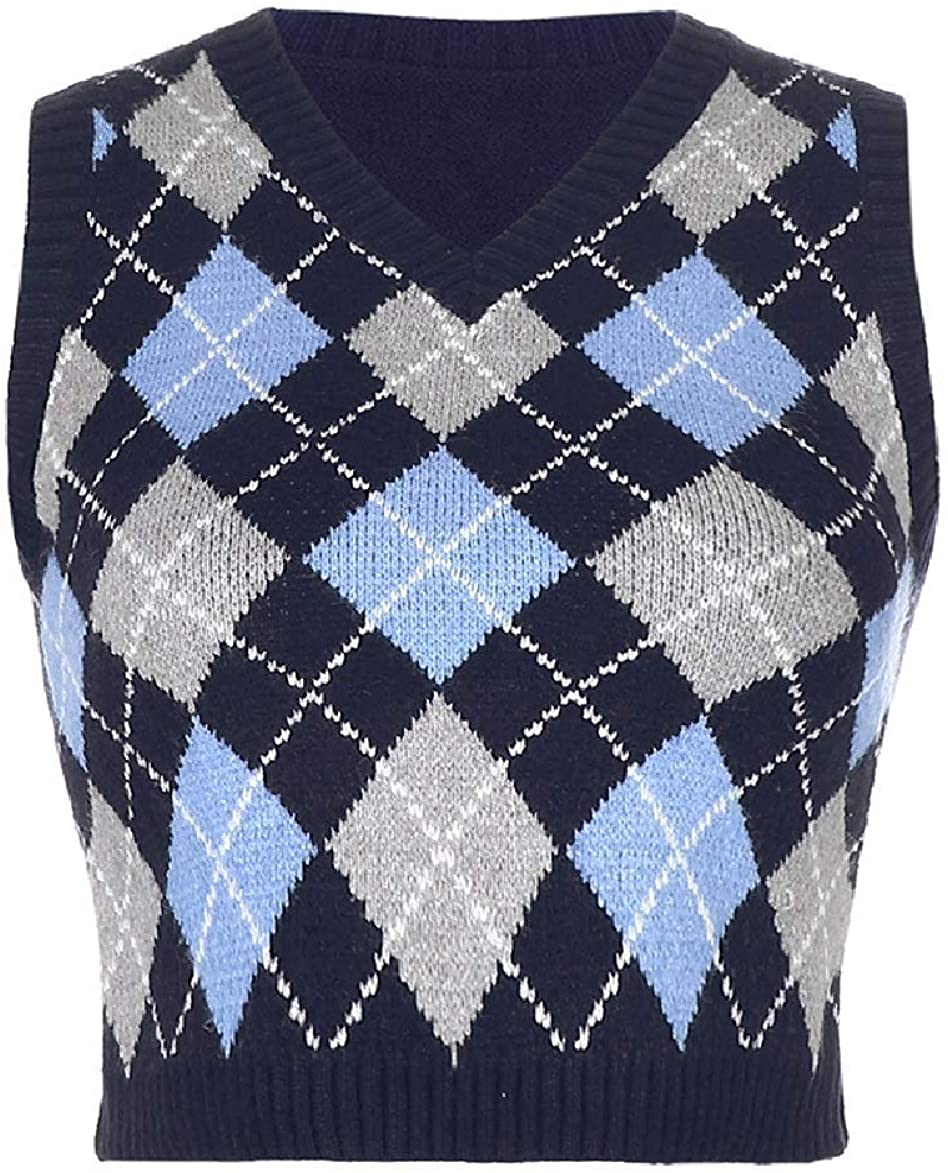 Ladies' Colorful 1920s Sweaters and Cardigans History Women Streetwear Preppy Style Knitwear Tank Top V Neck Argyle Plaid Knitted Sweater Vest  AT vintagedancer.com