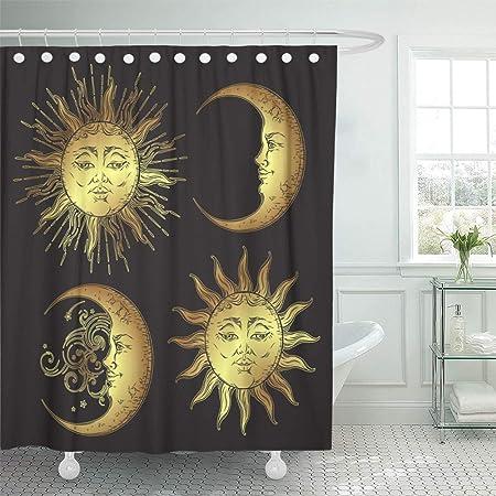 GABRI Cortina de baño Celestial Estilo Antiguo Sol y Luna ...