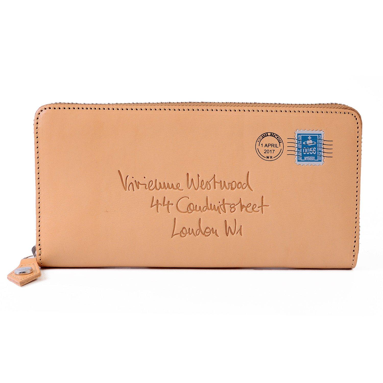 [名入れ可] (ヴィヴィアンウエストウッド) Vivienne Westwood レザー エンベロープ ロング ウォレット ラウンドファスナー 本革 長財布 3118U81 B0779W3VS6 名入れあり ベージュ ベージュ 名入れあり