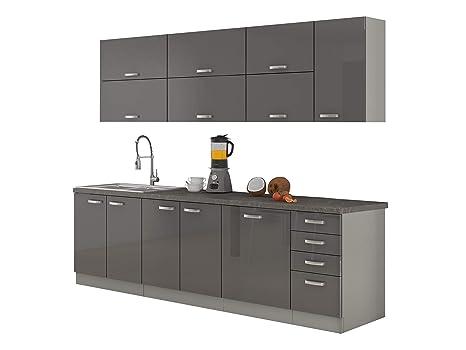 Mirjan24 Küche Multiline IV, 260 cm Küchenblock/Küchenzeile mit ...