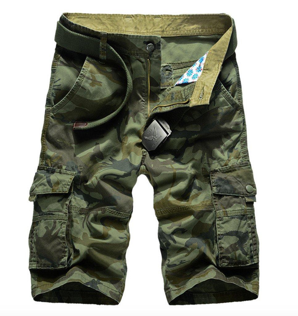 WSLCN Men's Cargo Shorts Camo Relaxed Casual 100% Cotton Bermudas Straight No Belt DK0348
