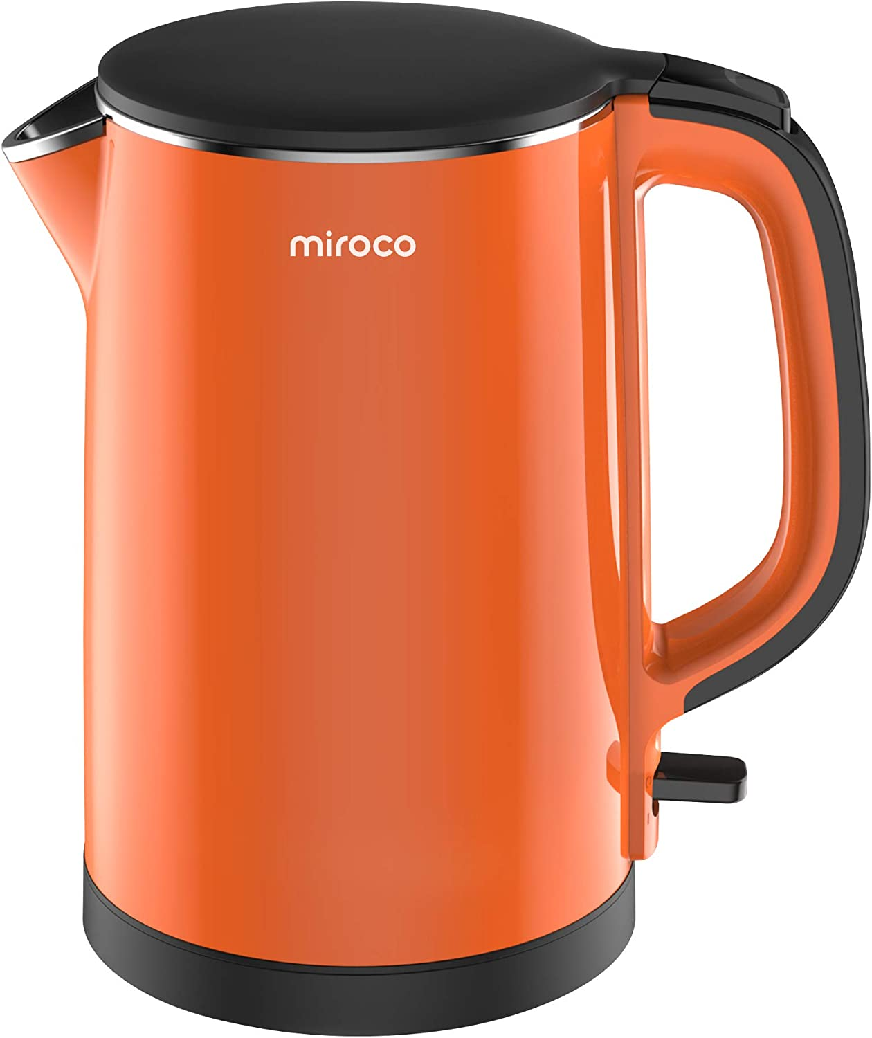 Miroco Electric Kettle, Double Wall Cool Touch 100 Stainless Steel BPA-Free Tea Kettle with 1500W Fast Boiling water, Overheating Protection, Cordless with Auto Shut-Off Boil Dry Protection-Orange
