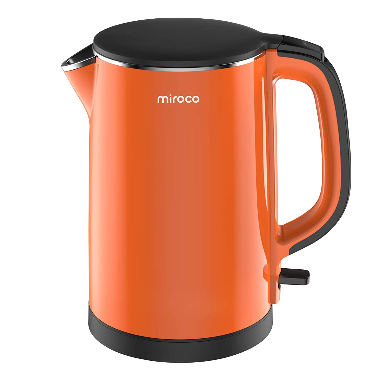 Miroco Electric Kettle, Double Wall 100% Stainless Steel BPA-Free Cool Touch Tea Kettle with 1500W Fast Boiling water, Overheating Protection, Cordless with Auto Shut-Off & Boil Dry Protection-Orange