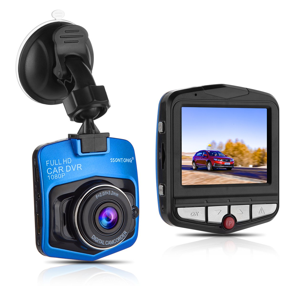 Dash Cam,Ssontong Mini Car Dashboard Camera, Full HD 1080P 2.31″ Screen 140 Degree Wide Angle Lens Vehicle On-Dash Video Recorder with Night Vision, G-Sensor, Parking Monitoring, Loop Recording(Blue)
