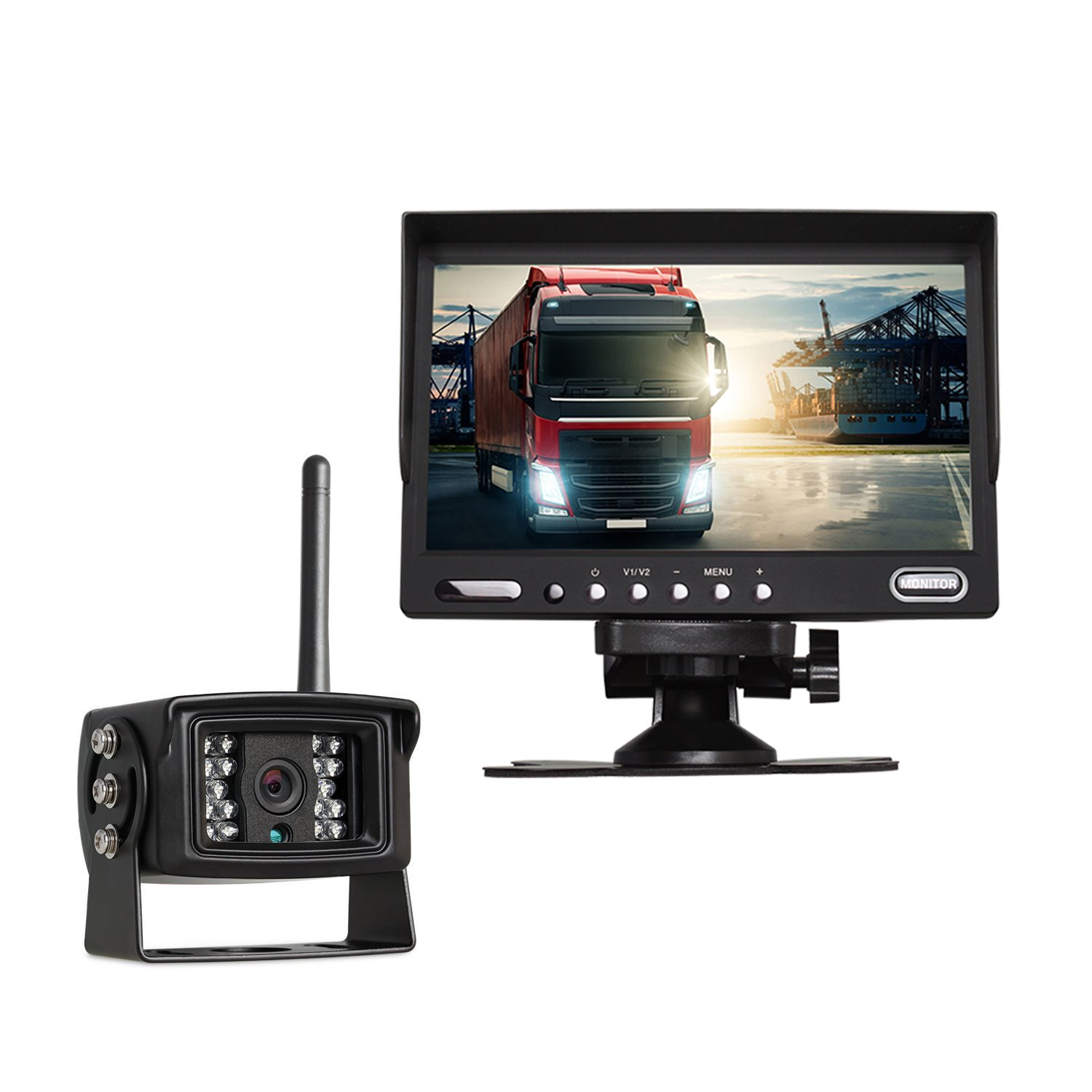 Auto-Vox Digital Wireless Backup Camera System with 7'' HD Rearview Monitor, Sony CCD Super Night Vision camera IP 68 Waterproof Rear view camera for Trucks