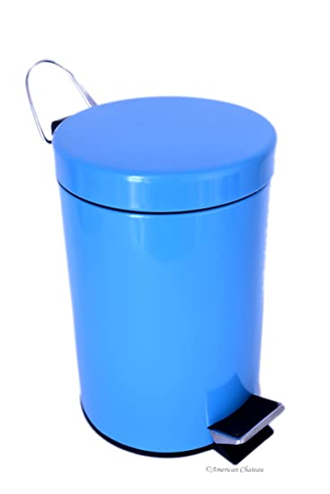 0 8g 3l Kitchen Bathroom Turquoise Blue Steel Trash Can Step On Garbage Can