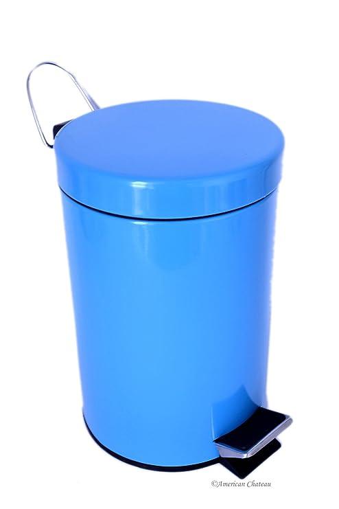 Amazon.com: 0,8 g/3L Cocina/baño azul turquesa acero Trash ...