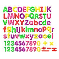 82 Pcs ABC Foam Magnetic Alphabet Letters and Numbers for Fridge Assorted Colors Educational Alphabet Refrigerator Magnets with Plastic Storage Container