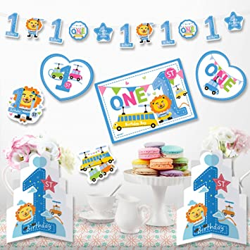 Amazon 1st Birthday Boy Decorations Kit Blue 1st Lion And