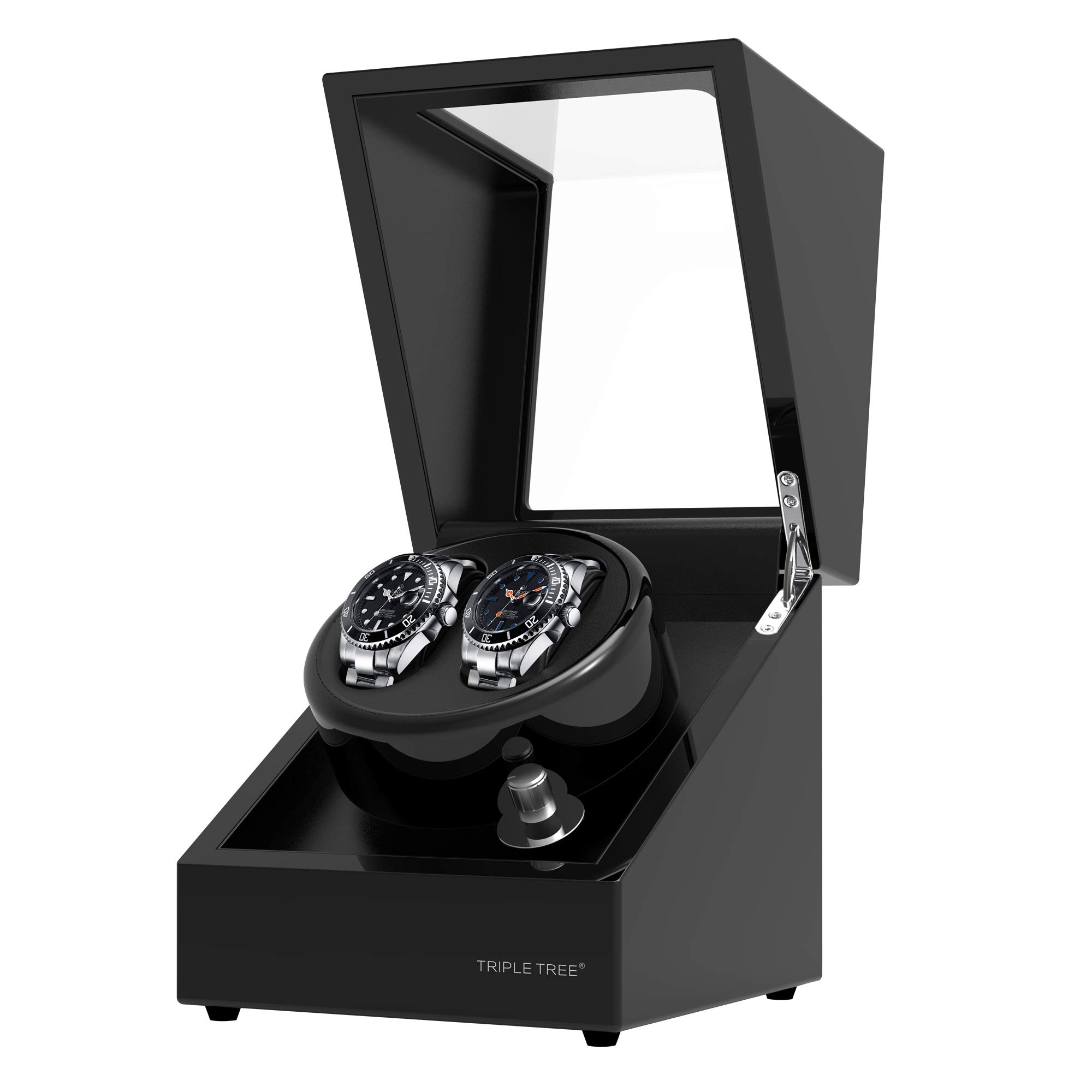 TRIPLE TREE Double Watch Winder [Newly Upgraded], for Automatic Watches, Wood Shell Piano Paint Exterior ,Extremely Silent Motor, Three Dimensional Watch Pillows, Suitable for Ladies and Men's Wrist