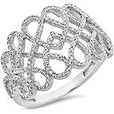 0.35 Carat (ctw) 14K Gold Round White Diamond Ladies Infinity Swirl Cocktail Right Hand Ring 1/3 CT