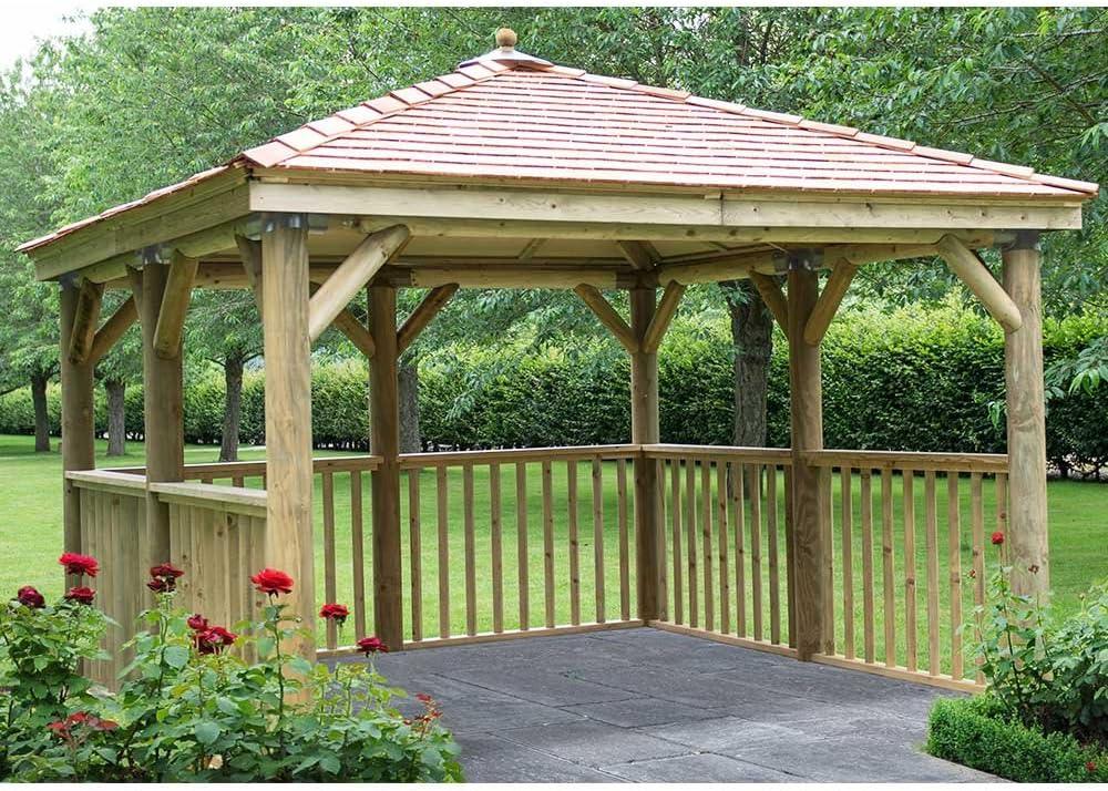 Gazebo de madera cuadrado de 3, 5 m con techo de cedro de Nueva Inglaterra – sin base: Amazon.es: Jardín