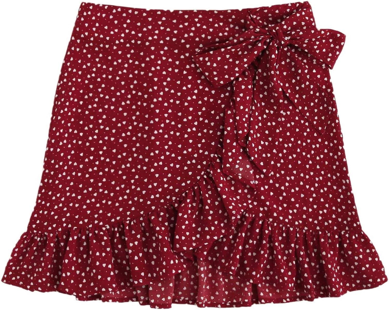Verdusa Women's Ruffle Trim Pinted Mini Wrap Skirt