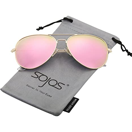 f3bacf38be SOJOS Classic Aviator Polarized Sunglasses Mirrored UV400 Lens SJ1054 with  Gold Frame Pink Mirrored Lens  Amazon.ca  Sports   Outdoors