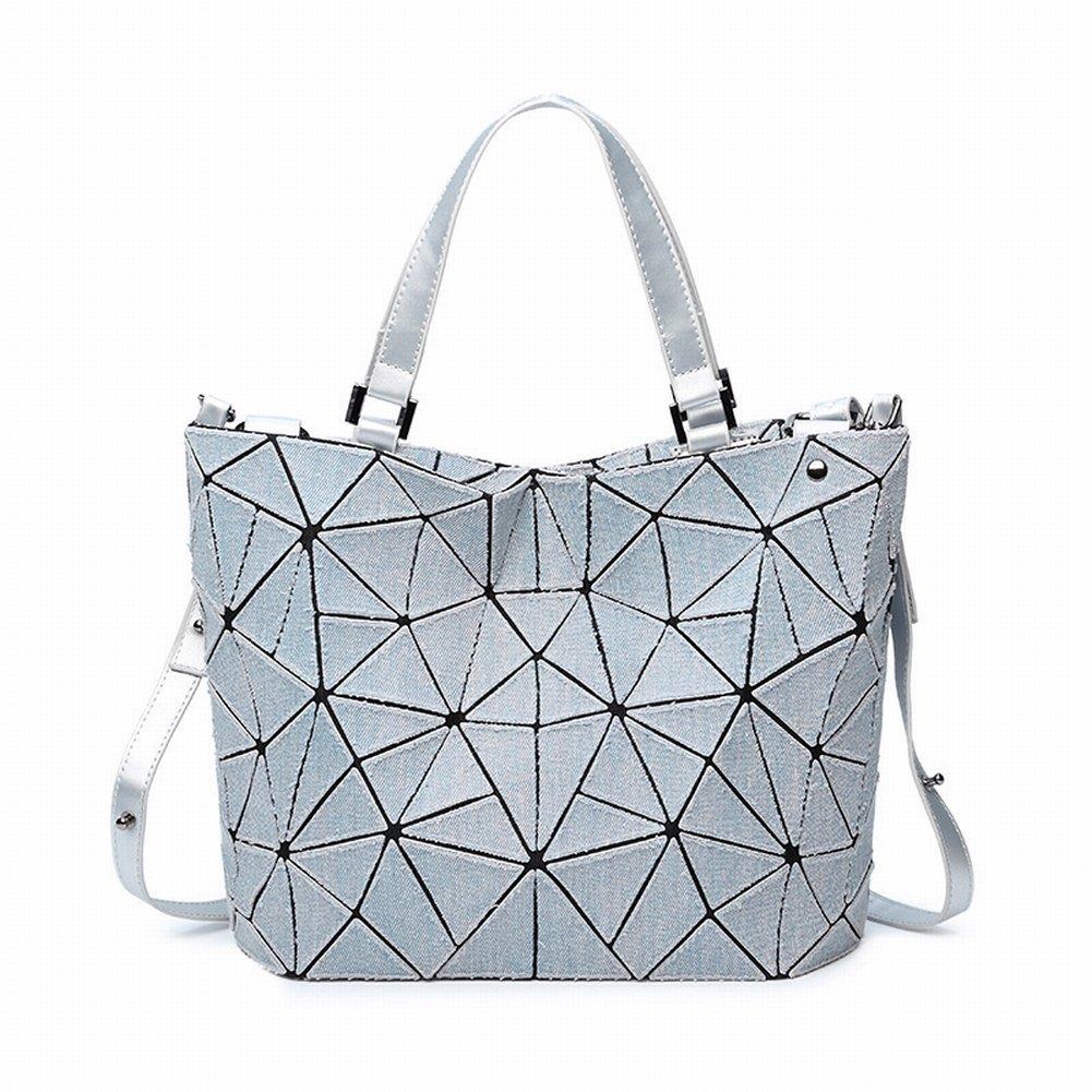Handtasche Handtaschen Mode Geometrische Raute Denim Eimer Tasche Einfach Lässig Diagonal Paket Schulter , grau