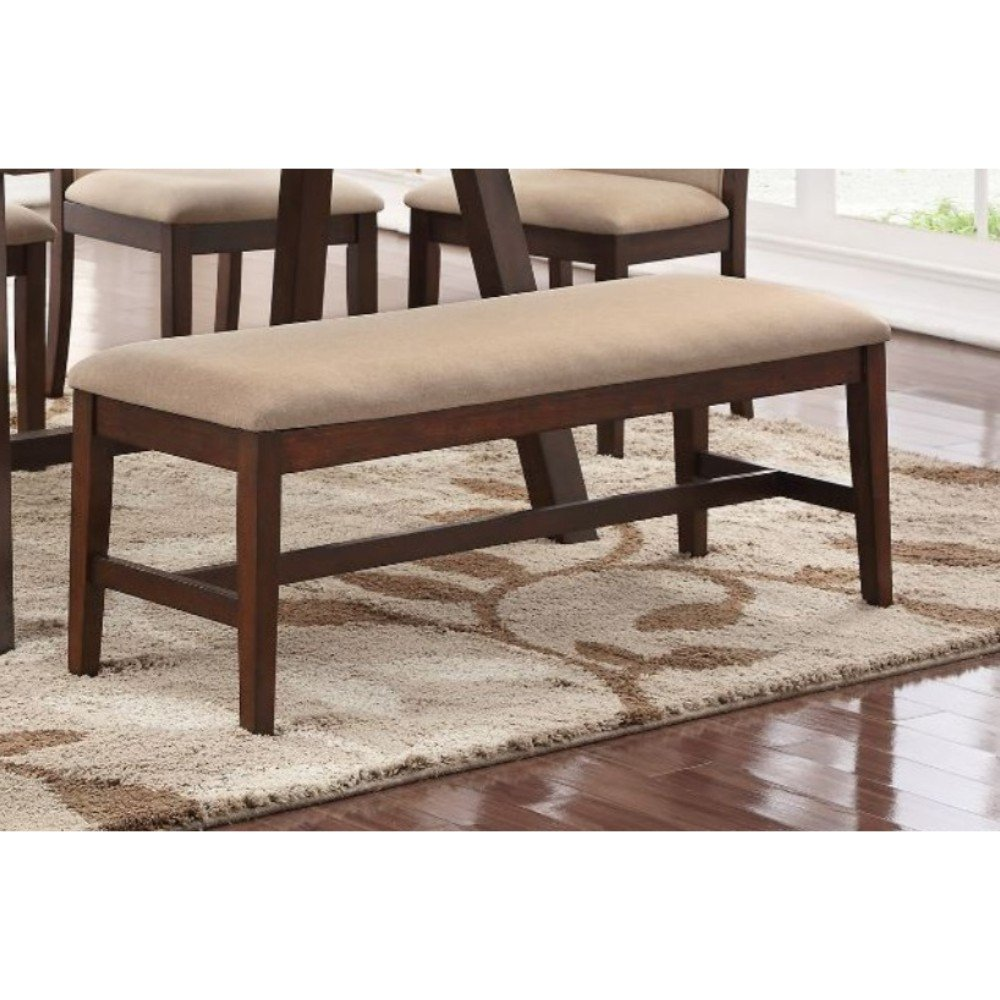Rubber Wood Bench With Tapered Legs Brown and Beige
