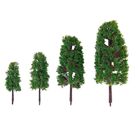 WINOMO Model Trees,Mixed Model Tree Train Trees Architecture Diorama Ho  Scale Model Trees for DIY Crafts or Building Model (Natural Green)
