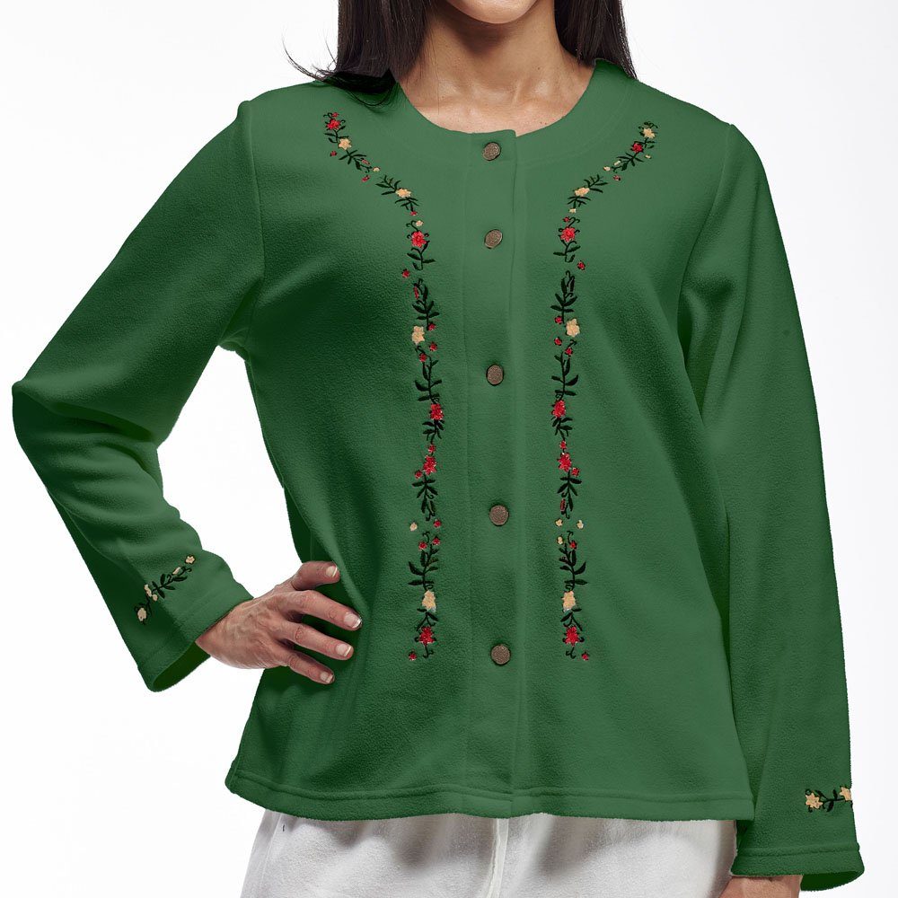 La Cera Women's Plus-Size Embroidered Fleece Jacket 5894X-1X-Green-$P