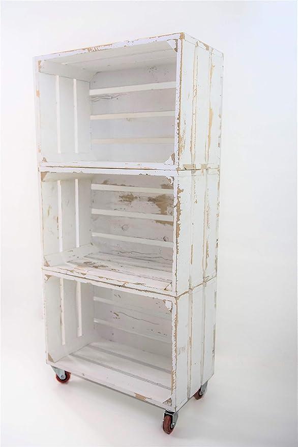 Estantería con 3 Cajas de Madera Pintada Blanco Vintage Tipo Fruta Vertical con Ruedas Rojas Sam, Cajas Blanco Vintage, 50x32x110CM. Incluye Imán ...