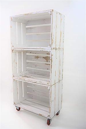 Estantería con 3 Cajas de Madera Pintada Blanco Vintage Tipo Fruta Vertical con Ruedas Rojas Sam, Cajas Blanco Vintage, 50x32x110CM.