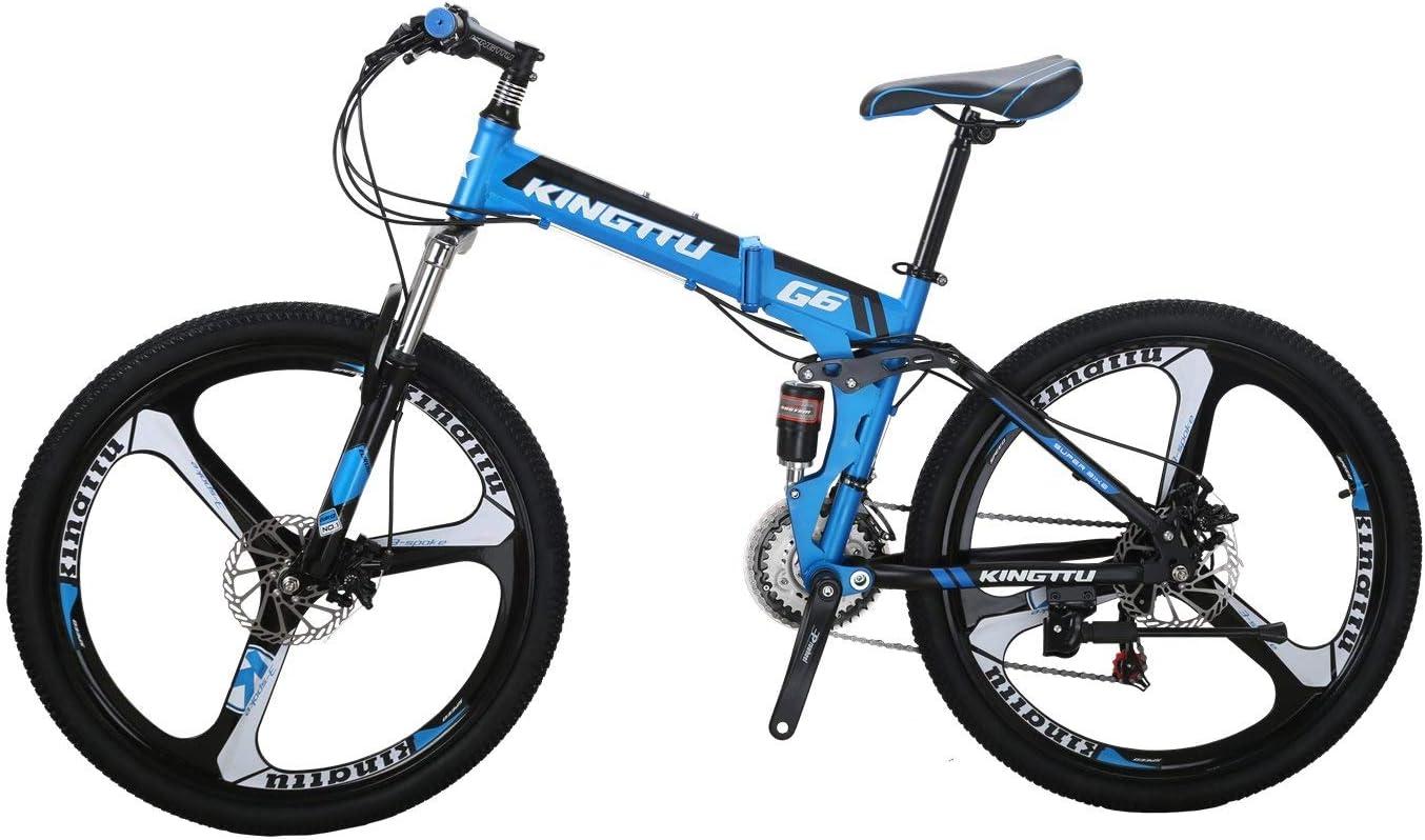 マウンテンバイクG6-26K 26インチ 折りたたみ式フレーム自転車 スチールフレーム 21速シフト 左3速 7速シフト 自転車 青 26K