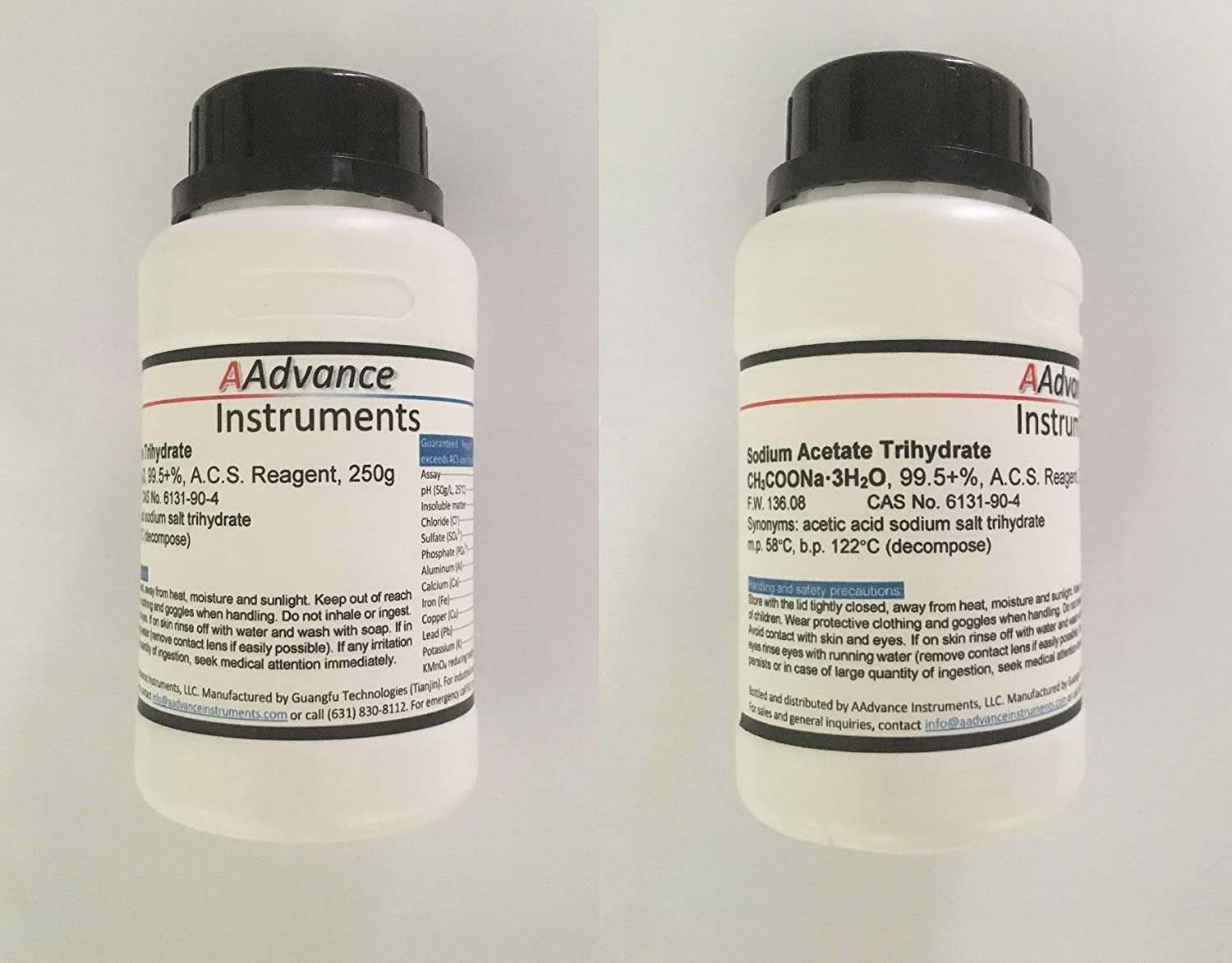 Sodium Acetate Trihydrate CH₃COONa·3H₂O 99.5+% GR ACS Grade CAS No. 6131-90-4 AAdvance Instruments (500 g, Trihydrate)
