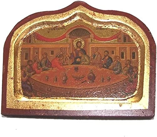 Holy Land Market Last Supper Icon with Sheets of Gold Lithography 18 x 12.5 inches