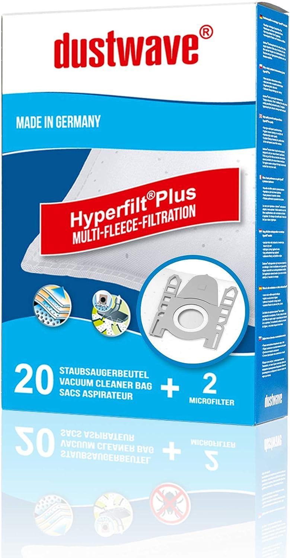 dustwave® - 20 bolsas para aspiradora Siemens VS 06G2422 con bolsa, 2400 W, fieltro especial especial para alérgicos, marca MicrofiltPlus®, fabricadas en Alemania