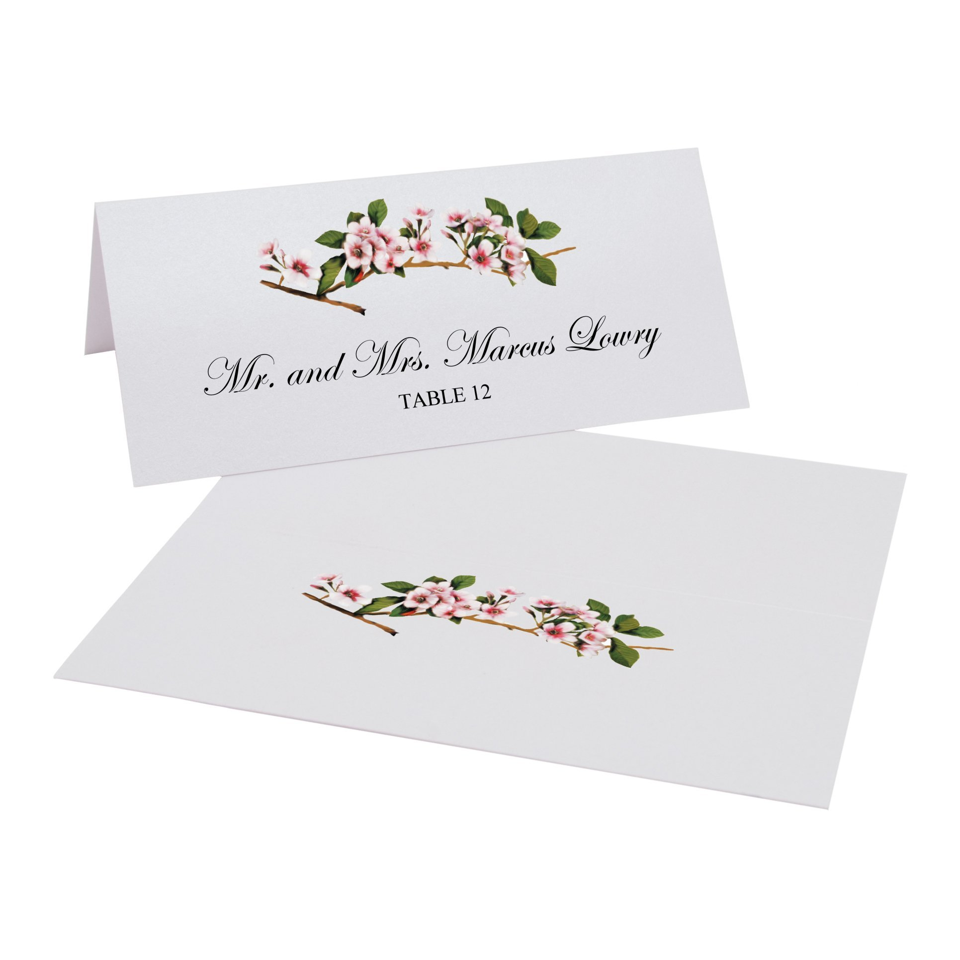 Pink Cherry Blossoms Easy Print Place Cards, Pearl White, Set of 300 (75 Sheets) by Documents and Designs