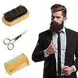Beard Comb Brush Kit 3 in 1 Boar Bristle Beard