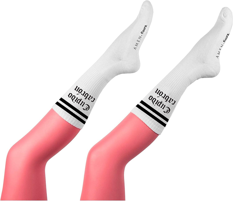 Fisura Par de Calcetines para Hombre Divertidos Largos Para Verano Estampados Originales Talla /Única V/álido de talla 40 a 45.