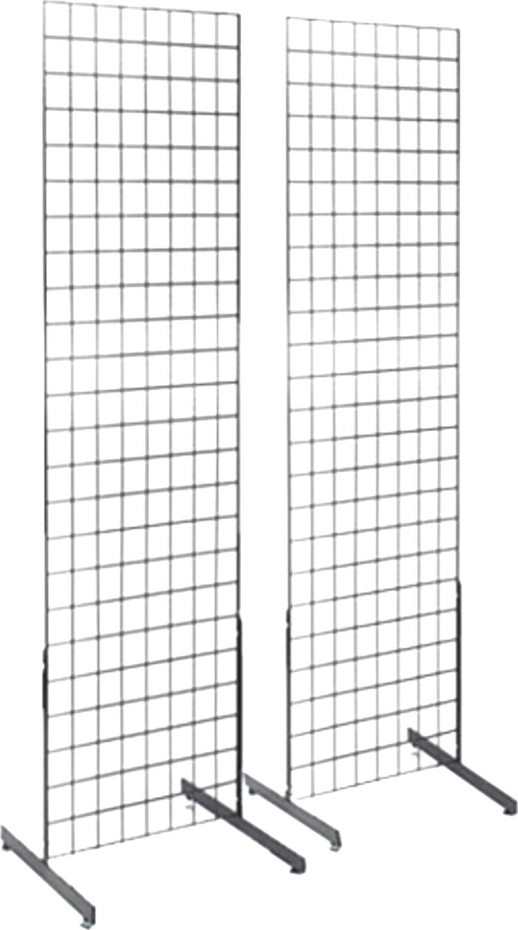 2' x 6' Gridwall Panel Tower with T-Base Floorstanding Display Kit, 2-Pack. Chrome