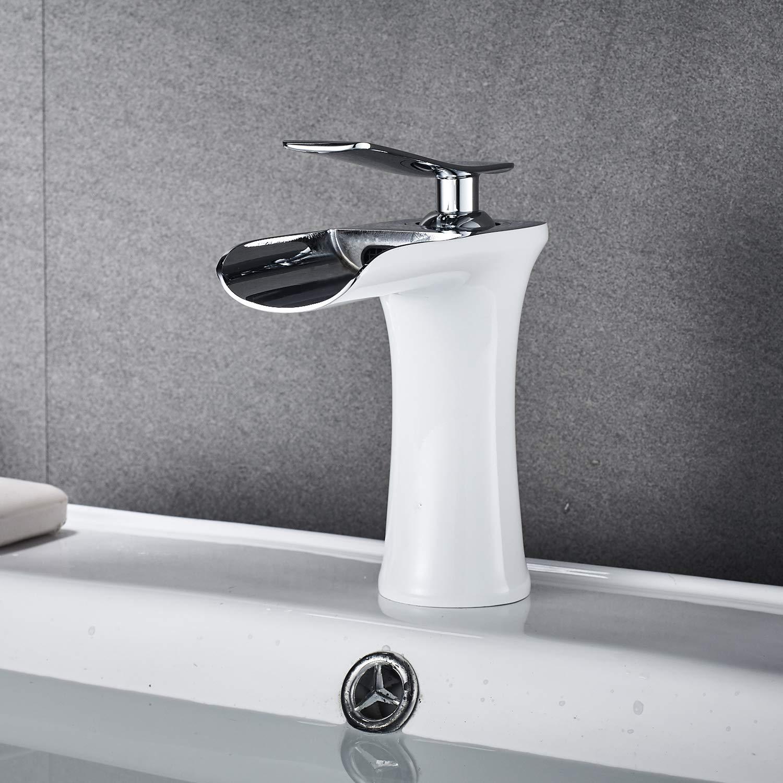 Cascada Grifo del Ba/ño Monomando Grifo del Fregadero mezclador monomando lavabo y ba/ño Blanco