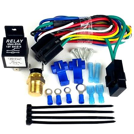 71NOOky3NLL._SY450_ amazon com radiator fan relay wiring kit, single dual fan dual fan wiring harness & relay kit at readyjetset.co